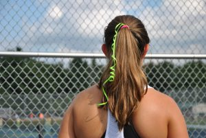 Close up of a students pony tail