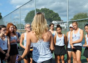 Tennis team huddle
