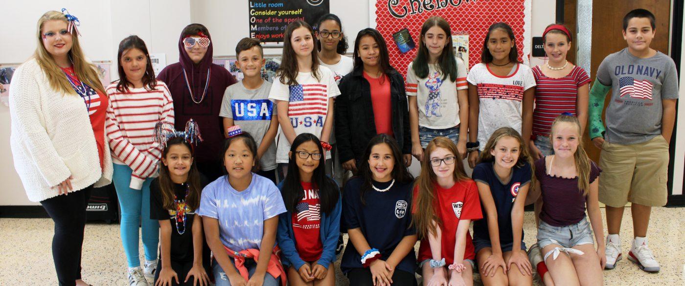students dressed in patriotic colors