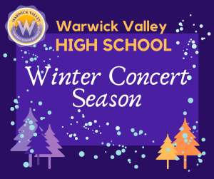 Graphic to announce the High School's winter concert season