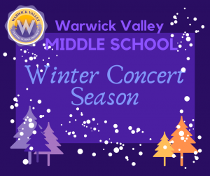Graphic for the announcement of the Middle School's winter concerts