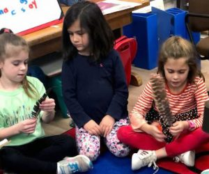 Students interact with quill pens
