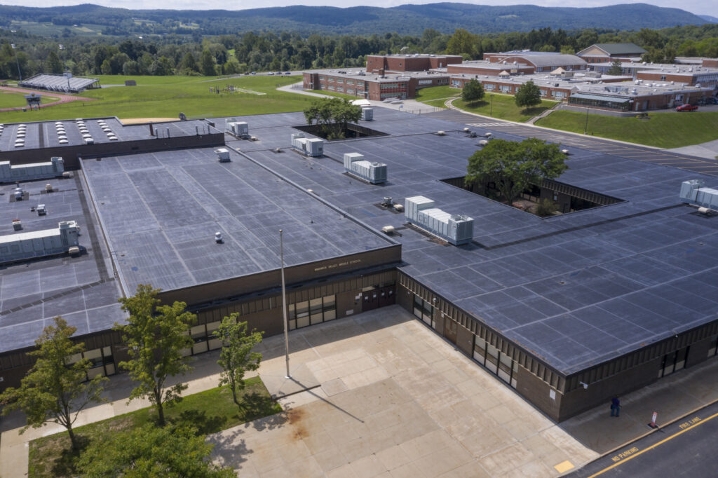 Aerial view of Warwick Valley Middle School on Aug. 17, 2020.