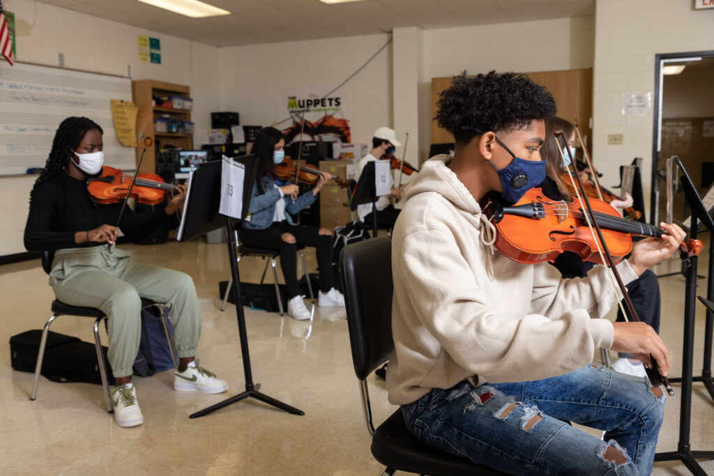 Warwick Valley High School students play their instruments during music class on Sept. 23, 2020.