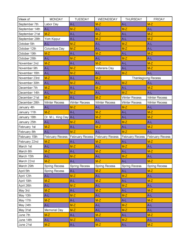 WVCSD A/B schedule