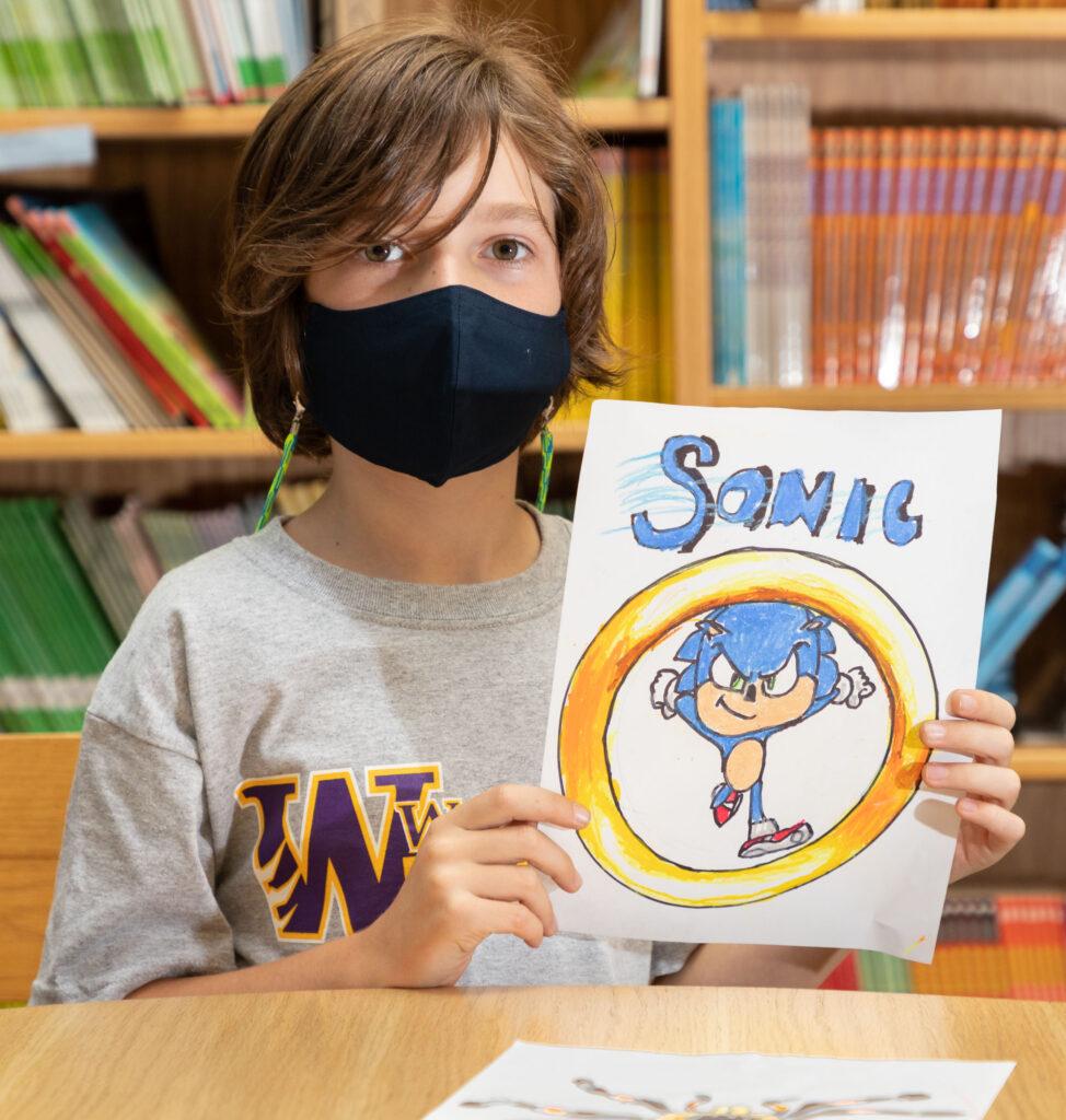 Sanfordville Elementary School second grader Griffin Luthin was his artwork on Oct. 9, 2020.