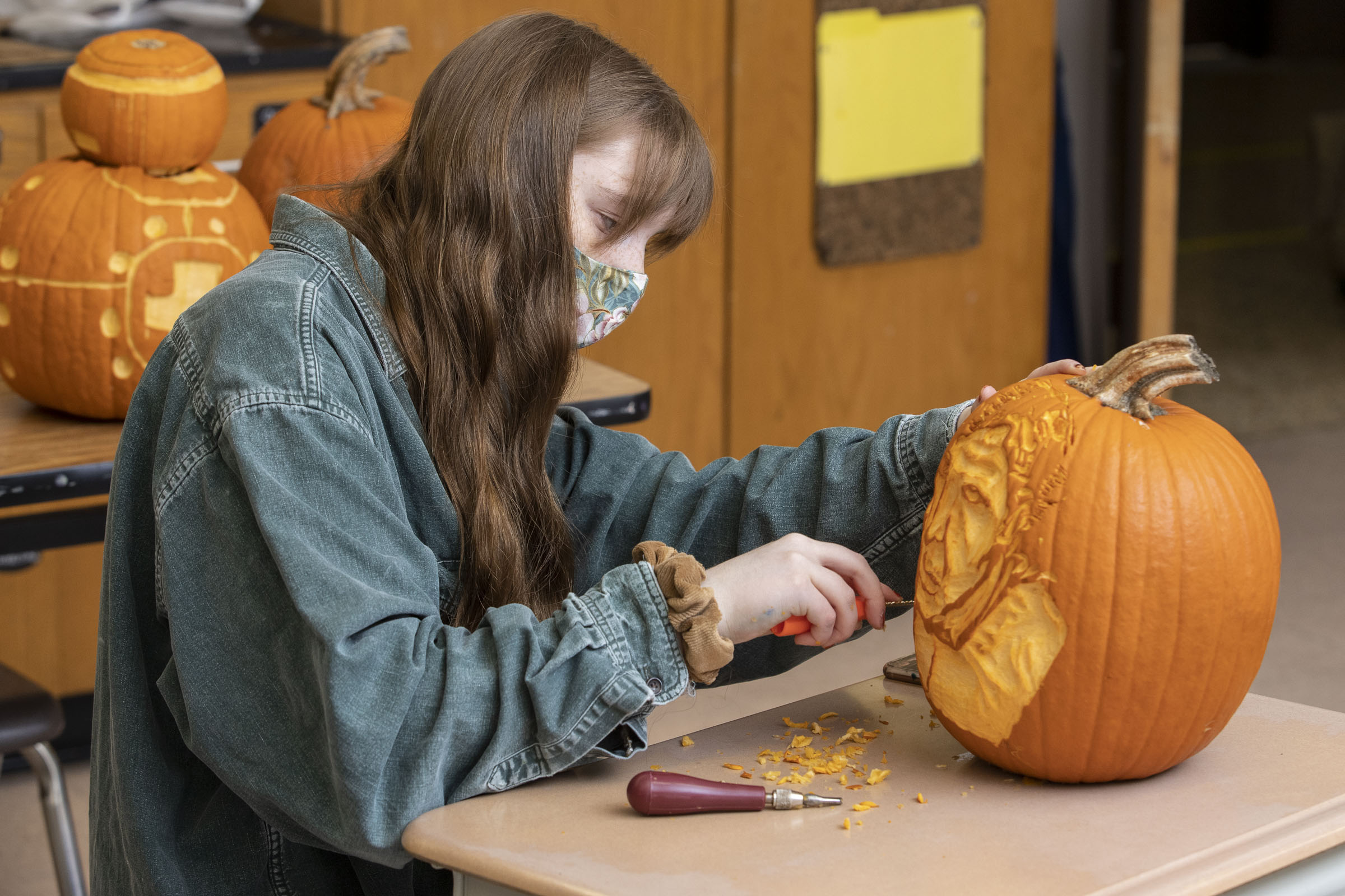 Warwick High School art students carved pumpkins with a Star Wars theme for their entry into the Crystal Springs Resort Jack-O-Lantern Carving Contest. WVHS Digital Photography students photographed the pumpkins for use in the carvers' portfolios.
