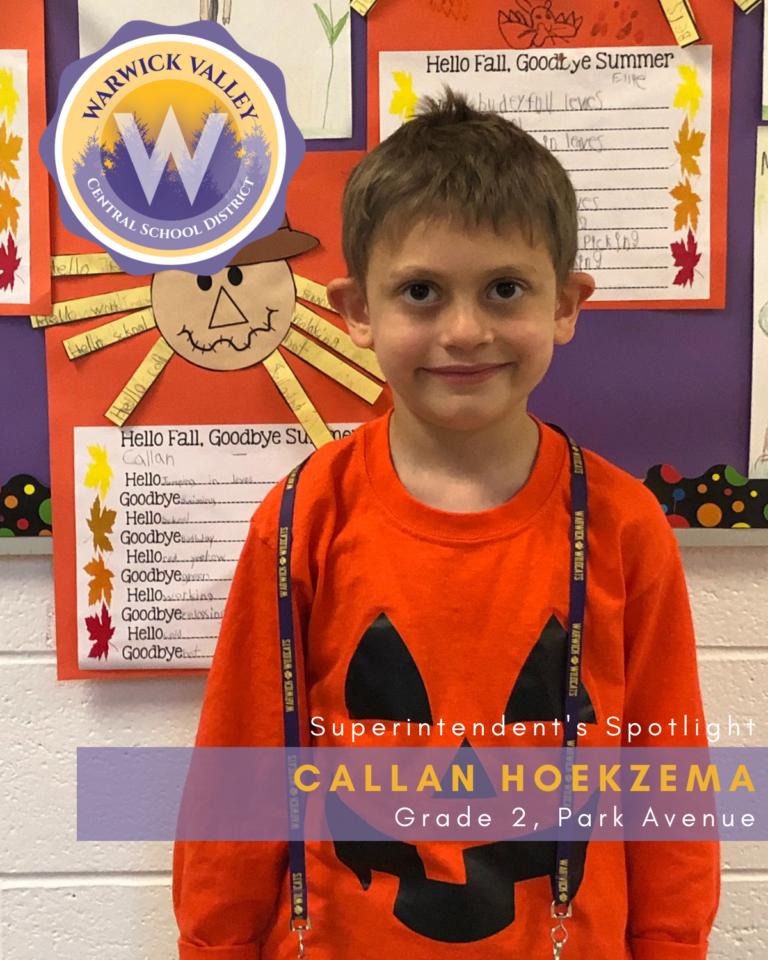 Superintendent's Spotlight: Callan Hoekzema - Warwick ...