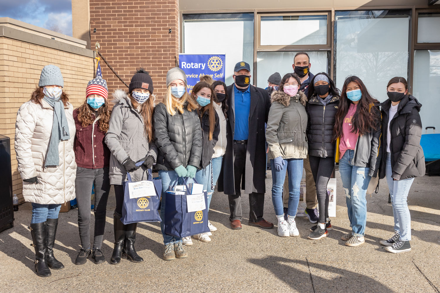 Members of the Warwick Valley High School's Interact Club volunteered to help distribute more than 7,000 masks with the Warwick Valley Rotary Club as part of the Rotary's Million Mask Challenge Tour on Jan. 23, at St. Anthony Community Hospital in Warwick.