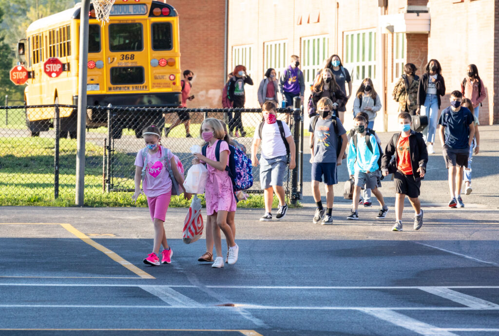 WVMS students walk to school from their bus